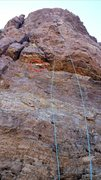 Rock Climbing Photo: Nice and fun route. WARNING: Loose rock after firs...