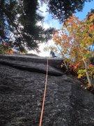 Rock Climbing Photo: Ben on FA of P1 at 6th bolt