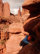 Rock Climbing Photo: The traverse at the end of pitch 1. The Citadel an...