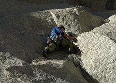 Rock Climbing Photo: Navigating the awkward, off-balance crux