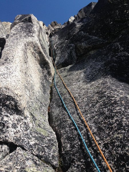 The 5.6 pitch on Lion's Way. The crack on the right side of the dihedral is the main feature mentioned in the guide, but it's difficult to see from below.