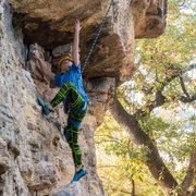 Rock Climbing Photo: Dax working towards the crux