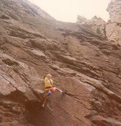 Rock Climbing Photo: Eric Ming back in '76 climbing the grease in old, ...