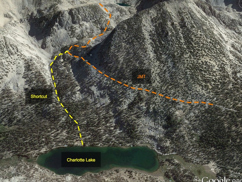 Shortcut from Charlotte Lake to Glen Pass.