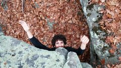 Rock Climbing Photo: Carlin with a unique take on navigating the fin.