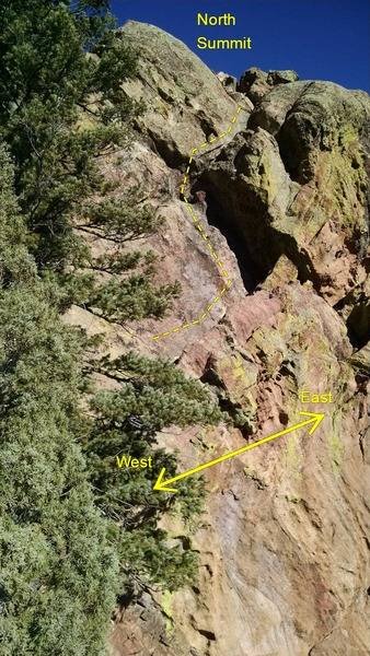 Downclimb on south side of the north summit. All kinds of exposed, with a few hundred feet straight down.