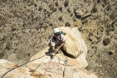 Rock Climbing Photo: Roy Suggett at the disintegrating ledge/pinnacle.