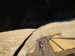 Rock Climbing Photo: Looking down the 80' offwidth on P8.