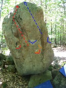 Rock Climbing Photo: The Fin v3 on the right, with sit start holds mark...