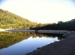 Rock Climbing Photo: When you get here, cross the bridge/dam and head u...