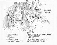 Rock Climbing Photo: Black Crag . Routes as of 1965 from the Ross/Thomp...