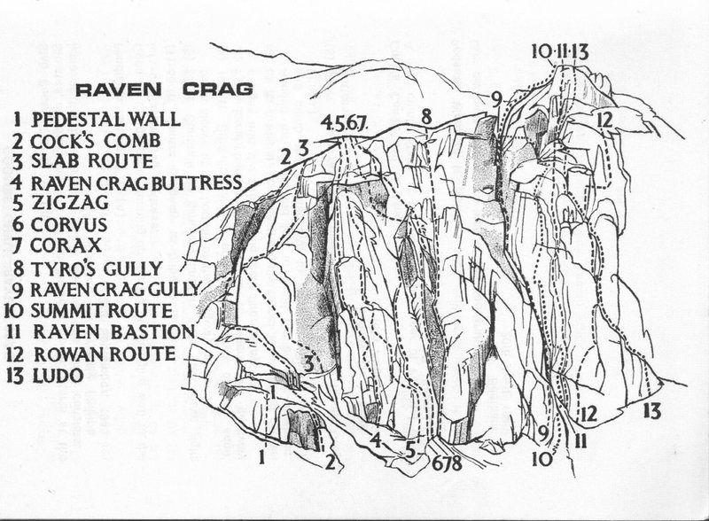 Rock Climbing Photo: Raven Crag .In Coomb Ghyll  Drawing by Len Roope f...
