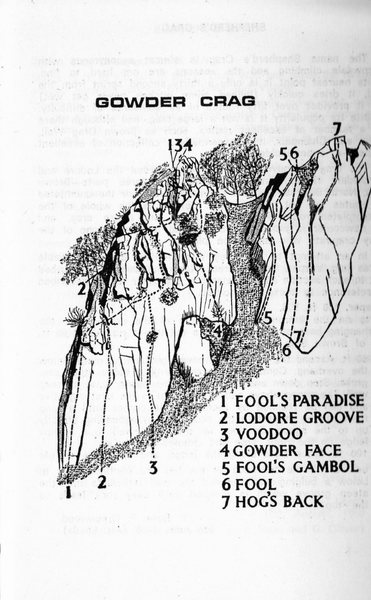 Gowder Crag . Routes as of 1965 . From the Ross/Thompson Borrowdale Guide book . Drawing by artist Len Roope.
