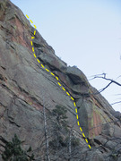 Rock Climbing Photo: The long dihedral pitch as seen from the talus to ...