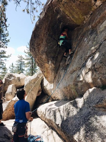 climbing on powder keg 5.10a holcomb valley