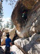 climbing on powder keg 5.10a holcomb valley