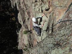 Rock Climbing Photo: Sonia about to top out on Turn To Stone, following...