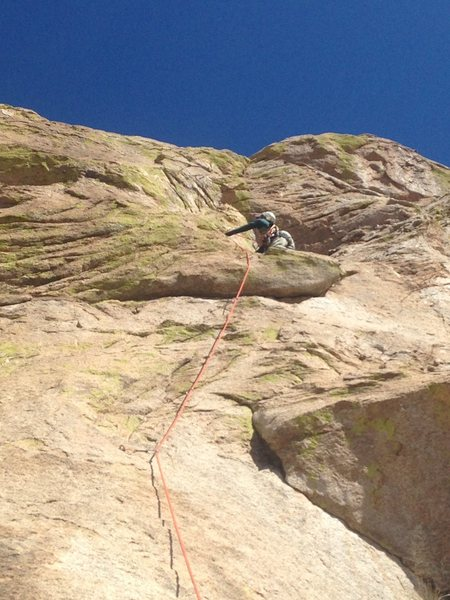 Leading the Second Pitch. Thought  the first 50ft of this pitch was the crux of the route.