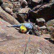 Rock Climbing Photo: Alex following reefer madness at turkey rocks