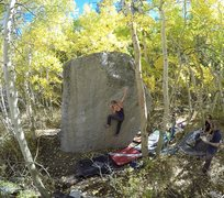 Rock Climbing Photo: Melanie moving up to the good edge on Fluke