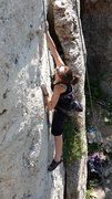 Rock Climbing Photo: my wife at wild iris on la vaca peligrosa