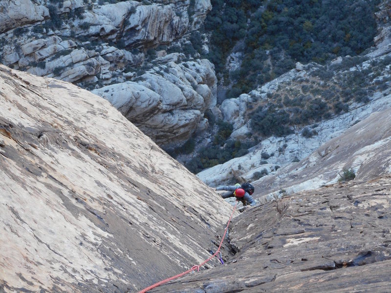One of the upper 5.7 pitches.  Steep but easy.