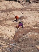 Andy leading up the crux 11c pitch.  Andy and partner - message me if you want the rest of the pictures.