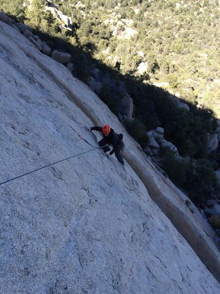 Rock Climbing Photo: Joey climbing the 1st pitch of Banzai.