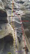 Rock Climbing Photo: Necromancer/Oracle topo