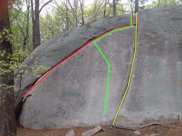 Easy Crack (yellow), Easy Crack Traverse(Red), Sleazy Slab (Green)