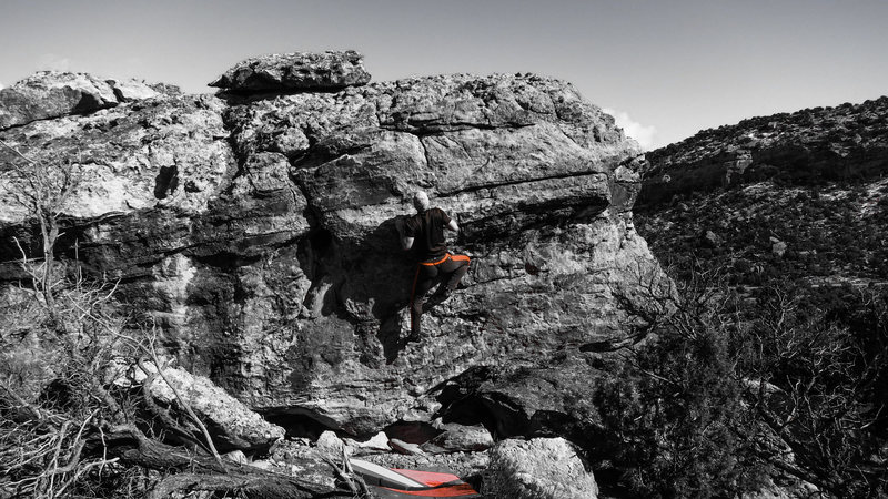 Rock Climbing Photo: About to let go on the move to the bump on Shy To ...