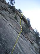 Rock Climbing Photo: Beta photo for Asleep in the Parthenon.