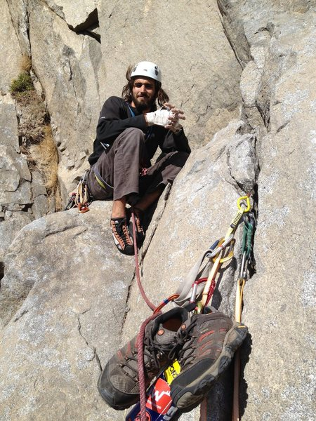Getting amped for the Wild and Airy pitch on the East Buttress of El Cap