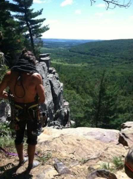 Finishing a day of climbing at Devils Lake