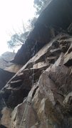 Rock Climbing Photo: Under the crux roof. Not a great photo, but the be...