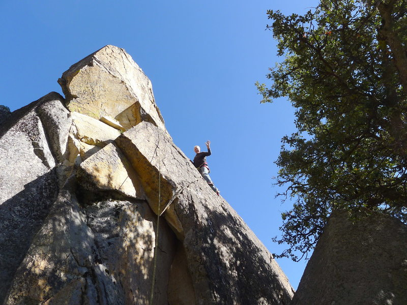 Mike Arechiga on fun route on upper right side wall.