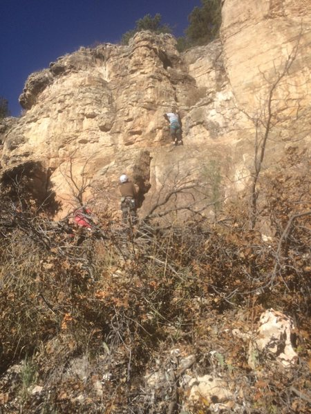 "Rock Climbing Photo: Toproping Purple Reign. The arête ""Ma Baker&..."