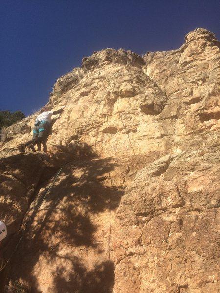 Rock Climbing Photo: Top roping Purple Packer Smacker. Use a directiona...