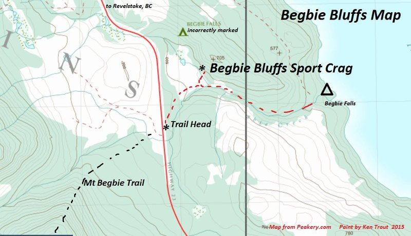 At least three sources led me to believe that Begbie Bluffs are west of  Highway 23. This map should help.