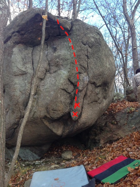 Rock Climbing Photo: Line in red.
