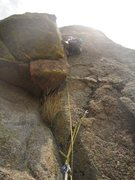 Rock Climbing Photo: Stef goes up and away on the final headwall and ro...