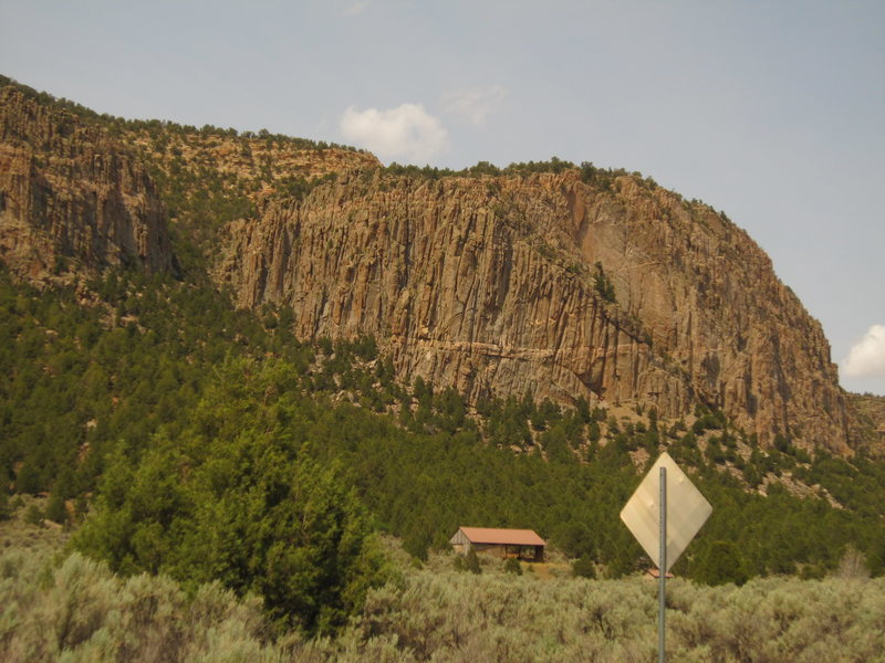 Hidden Valley wall from the approach.  The horizontal dike on the right near the base is an identifying feature.