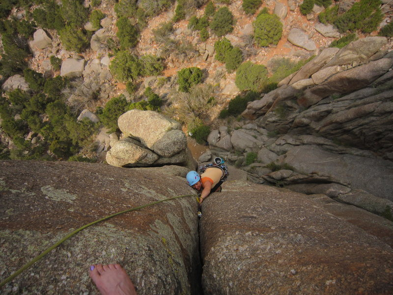 Stef jams into the upper portion of the first (extended) pitch of Obe Wan Canobe in July, 2013.