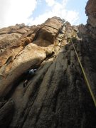 Rock Climbing Photo: Stef gets started into Quicksilver in July 2013.