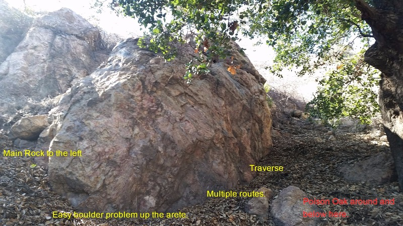 Boulder in the trees (to the right of the Main Wall and Boulders).  Look out for Poison Oak.
