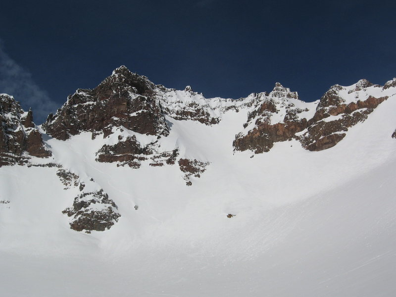 11 o'clock couloir angles down from the upper left.  Ski track is visible if you look closely.