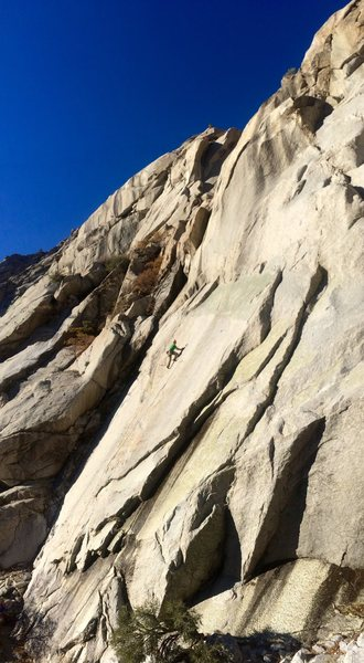 Rock Climbing Photo: Charlie sending the slab on Kermit's Wad