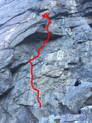 Rock Climbing Photo: Follow the red line.