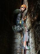 Rock Climbing Photo: Kyle starting P3, the elevator shaft.