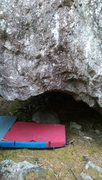 Rock Climbing Photo: Really Cool Roof problem V4-6ish. Hard to get a sh...